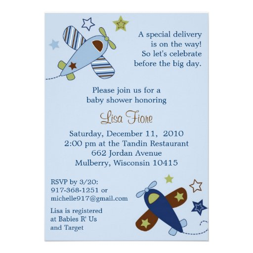 zoom along airplane baby shower invitations 5 x 7 invitation card