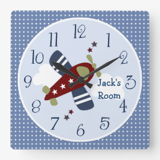 Zoom Along Airplane Nursery/Children's Clock