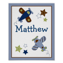 Zoom Along Airplane Nursery Wall Art Name Print