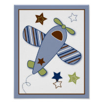 Zoom Along Airplane Nursery Wall Art Print
