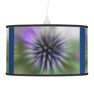Zoom Flower Purple and Green Digital Art Hanging Lamp