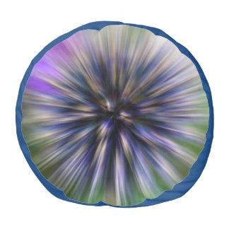 Zoom Flower Purple and Green Digital Art Pouf