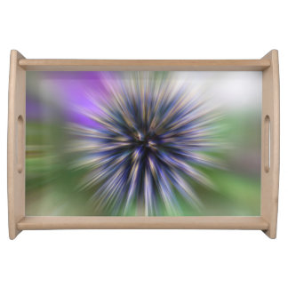 Zoom Flower Purple and Green Digital Art Serving Tray