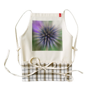 Zoom Flower Purple and Green Digital Art Zazzle HEART Apron