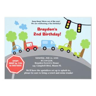 Zoom Zoom Cars Custom Birthday Invitation