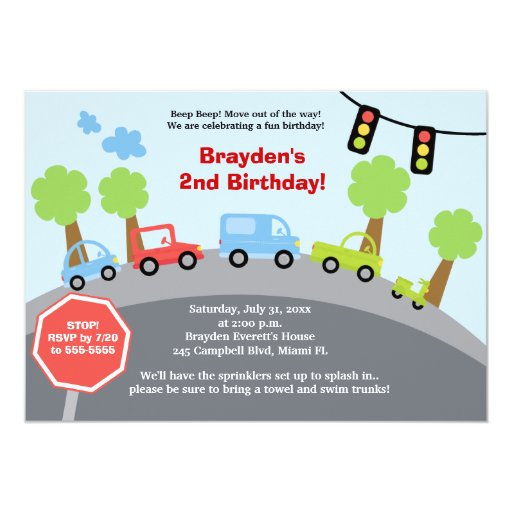 Zoom Zoom Cars Custom Birthday Invitation
