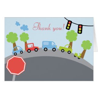 Zoom Zoom Cars Folded Thank you notes Stationery Note Card