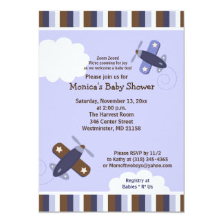 Zooming Airplane Invitation Brown and Navy