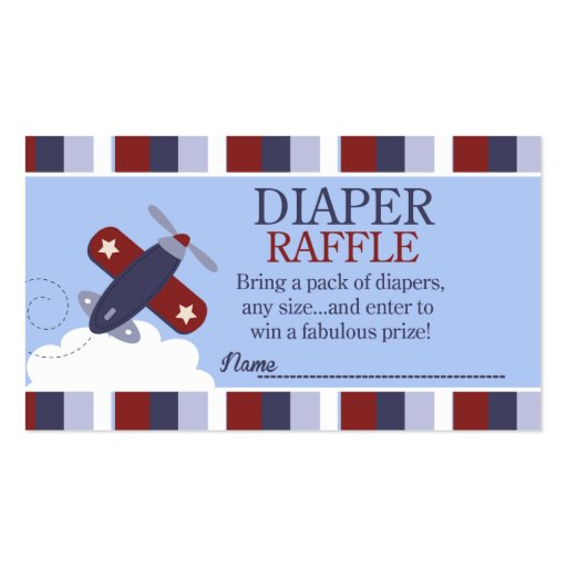 Zooming Along Airplane Baby Shower Diaper Raffle Business Cards