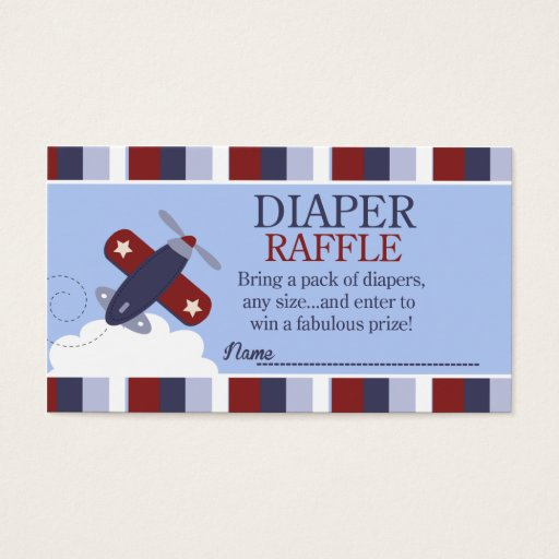 Zooming Along Airplane Baby Shower Diaper Raffle Business Card