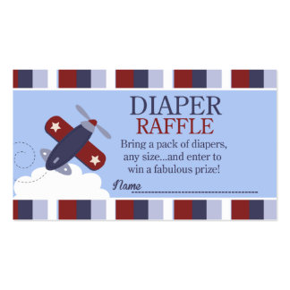 Zooming Along Airplane Baby Shower Diaper Raffle Double-Sided Standard Business Cards (Pack Of 100)