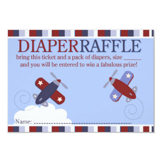Zooming Along Airplane Shower Diaper Raffle Card