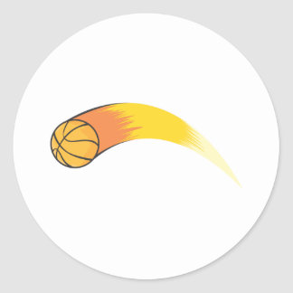 Zooming Basketball Classic Round Sticker