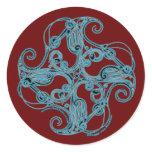 Zoomorphic Celtic Crane Stickers, Burgundy Classic Round Sticker