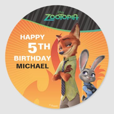 Disney Themed Zootopia Birthday Classic Round Sticker