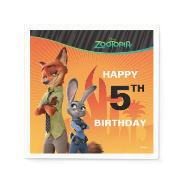 Disney Themed Zootopia Birthday Napkin