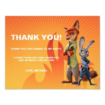 Disney Themed Zootopia Birthday - Thank You Card