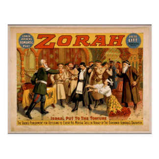 Zorah, 'Israel put to the torture' Retro Theater Post Card