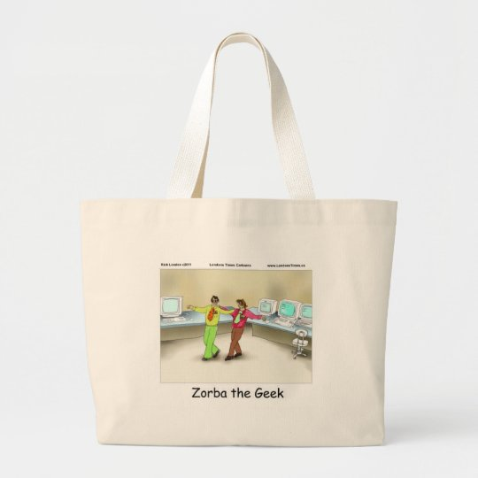 Zorba The Geek Funny Gifts Tees Mugs & Cards Large Tote Bag