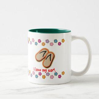 Zori y frases japonesas taza de café