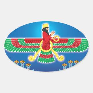Zoroastrian Persian Faravahar Oval Sticker
