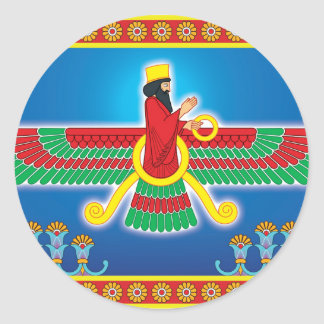 Zoroastrian Persian Faravahar Classic Round Sticker