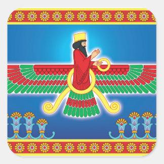 Zoroastrian Persian Faravahar Square Sticker