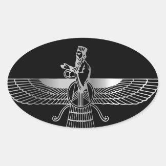 Zoroastrianism Faravahar Oval Sticker