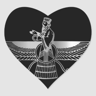 Zoroastrianism Faravahar Heart Sticker