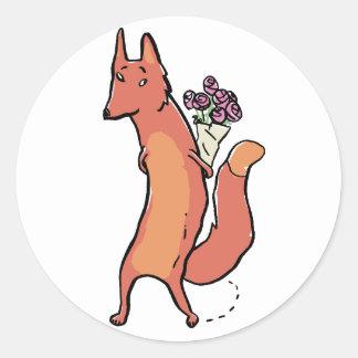 zorro con los rosas pegatina redonda