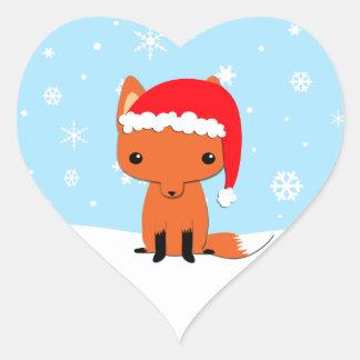 Zorro del navidad pegatina corazon