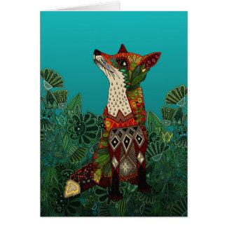 zorro floral tarjeta de felicitación