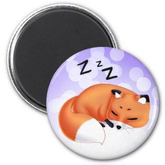 Zorro lindo del dibujo animado el dormir de Kawaii Imán Redondo 5 Cm