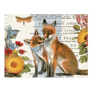 Zorro moderno del arbolado del vintage tarjetas postales