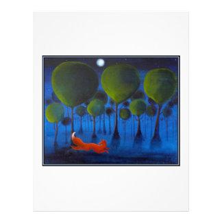 """Zorro rojo con los árboles en la noche folleto 8.5"""" x 11"""""""