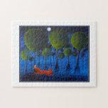 Zorro rojo con los árboles en la noche puzzle