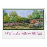 Zorro rojo de la tarjeta de nota   un conejo