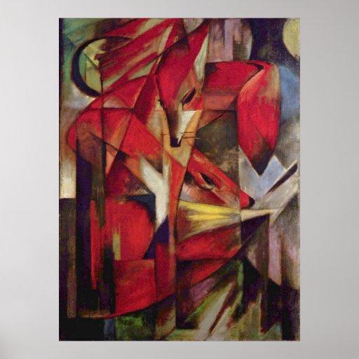 Zorros de Franz Marc, arte abstracto del cubismo Póster