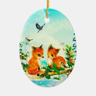 Zorros del bebé + Pájaros del invierno - ornamento Adorno Navideño Ovalado De Cerámica