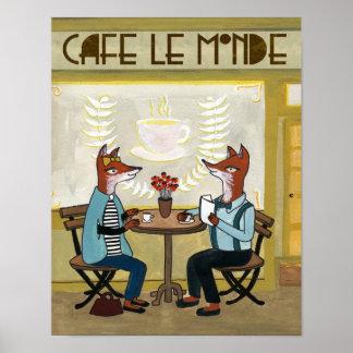 Zorros en el café - dos zorros en un café póster