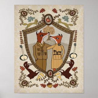 Zorros en la impresión del amor póster