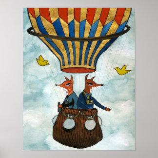 Zorros en un globo del aire caliente póster