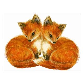 Zorros gemelos del bebé postales