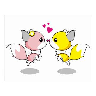 Zorros lindos en dibujo animado del amor postales