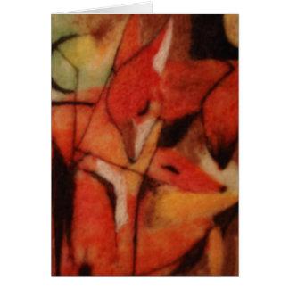 Zorros rojos tarjeta de felicitación
