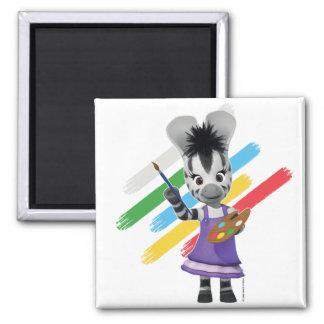 ZOU Adorable Girl Painting Zebra Magnet