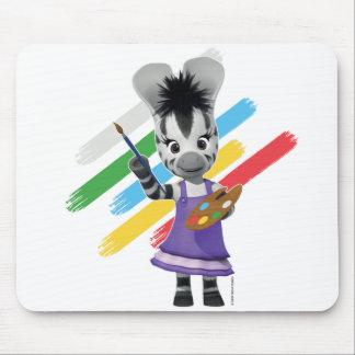 ZOU Adorable Girl Painting Zebra Mouse Pad