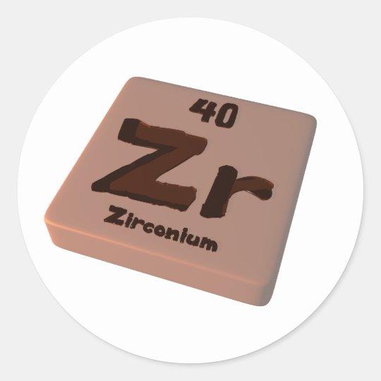Zr Zirconium Classic Round Sticker