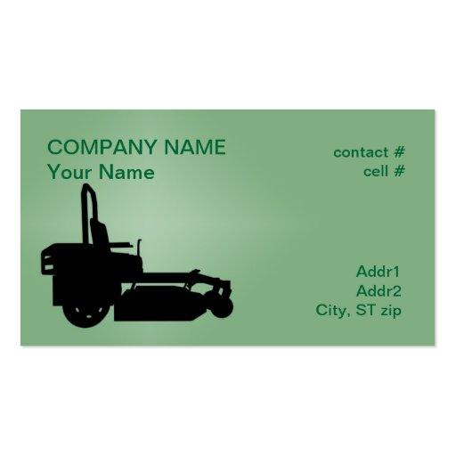 ZTR grass mower Business Card
