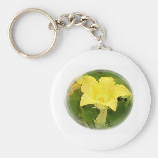 Zucchini Blossom in Swirl Keychain